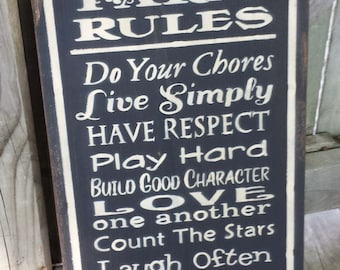 Farm Rules Wood Sign - Christmas Gift, Family Rules, Mother's Day, Father's Day