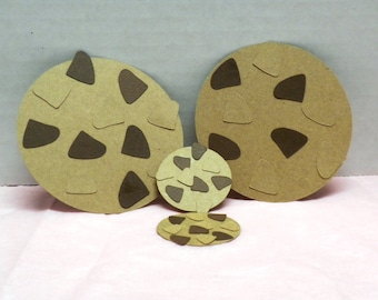 10 Die Cuts Chocolate Chip Cookies-Die Cuts, Scrapbooking, Scrapbook, Cookies, Chocolate, Paper Goods, Cookie Die Cut-Choco Chip DC-7