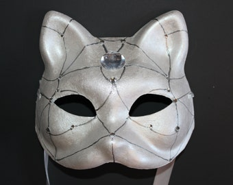 Cat Mask silver with diamonds