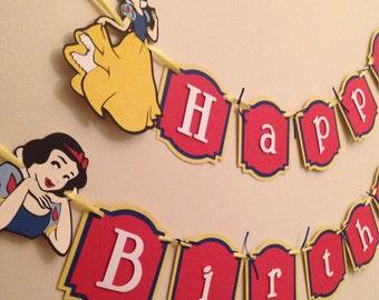 Snow White Birthday Banner, princess birthday party!