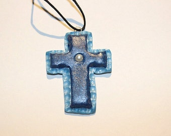 Polymer Clay Blue Cross (pearl)