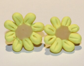 Polymer Clay Yellow Flower Earrings