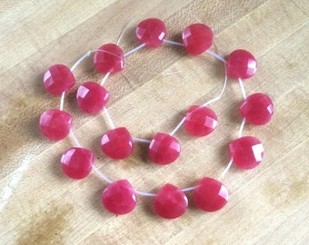 16 Faceted Red Jade Heart Briolette Beads – 18 x 18MM