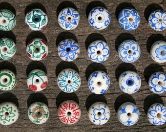 hand painted artisan ceramic knobs