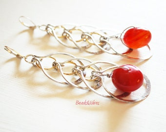Textured Red Stone chain earrings