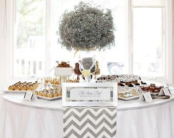 Beautiful Wedding Table Runner in Gray and White Chevron Custom sizes
