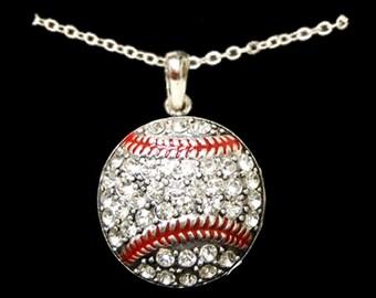 Baseball Rhinestone Necklace