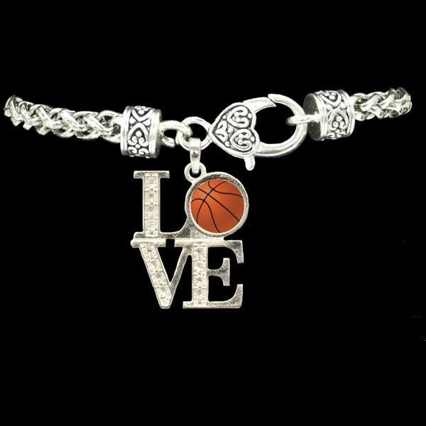 Basketball Charm Bracelet: LOVE Basketball Rhinestone Charm Bracelet