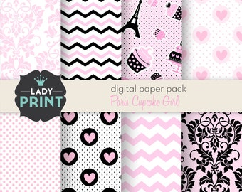 Paris Pink Girl Digital Papers. For Personal and Small Commercial Use.