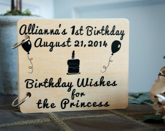 Personalized guest book, 1st birthday, guest book, wood