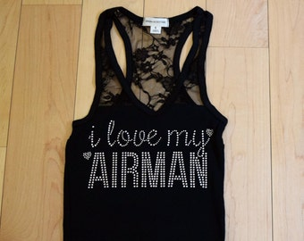 I love my AIRMAN Tank . Proud Airforce Wife . Support the Airforce . Military Love . Military Support . Army Deployment Support . Army Love