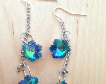 Luminescent Flower and Chain Earrings