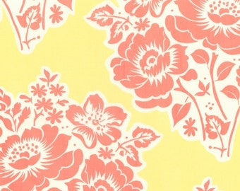 Secret Garden, Poppy floral on Yellow, by Sandi Henderson from Michael Miller, 1 yd