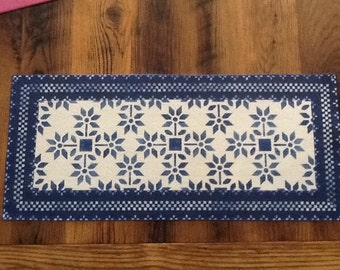 Hand painted stenciled table runner
