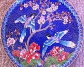 Azure-Winged Magpie by Ching-t'ai-lan Artists Workshop - Chinese Cloisonne' Birds and Flowers Collection