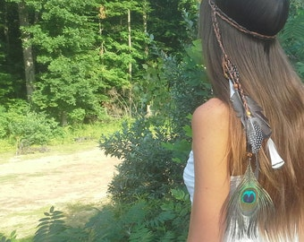 Feather, Headband, Boho, Bohemian, Native, American, Style, braided, boho, gypsy, hairband, Pocahontas, hippie, hipster, festival, costume