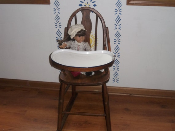 Antique High Chair Wooden With Porcelain Tray