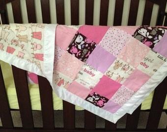 Snuggle soft girly crib quilt