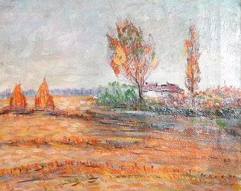 1970 Post Impressionist oil painting landscape