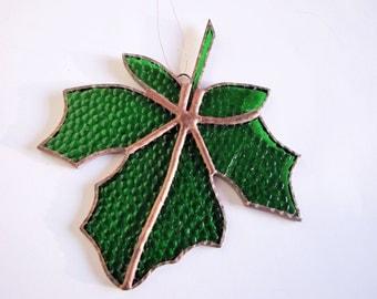 Handmade Textured Green Stained Glass Maple Leaf Suncatcher