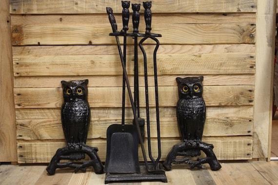 Cast Iron Owl Andirons & Fireplace Tools