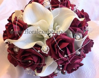 Artificial Burgandy Bridal Bouquet, Real Touch Calla Lily and Roses. Artifixial wedding flowers