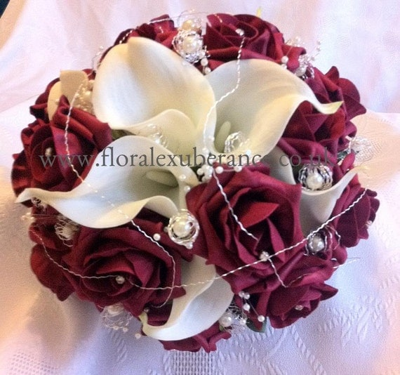 Artificial Burgandy rose and calla lily bridal wedding bouquet