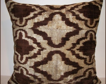 xl Walnut Wash Silk Velvet Ikat Pillow with down feather insert included. Free Shipping.