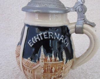 "Antique Miniature Bavarian Ceramic Tankard - 4"" with Pewter Top"