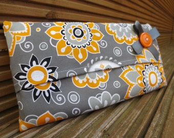 Grey Tissue Cover - Tissue Holder - Travel Tissues - Retro Yellow, Orange And Grey Fabric - Geometric Patterns - Baby Changing Bag Accessory