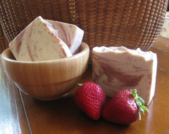 Strawberry Cream Soap -Natural Soap, Handmade Soap, Spa Soap, Cold process Soap, Homemade Soap, Artisan Soap,New Hampshire Soap,Spa Bar,Soap