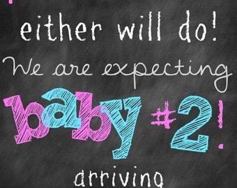 Chalkboard Pregnancy Baby Announcement Baby 2 Photo