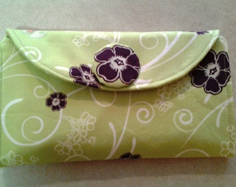 Lime Green with Purple Flowers - Wallet - W124