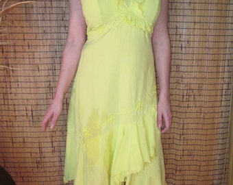 "Cream, Lime, and Tangerine Colored ""Fernanda"" Embroidered Dress"