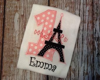 French inspired Eiffel Tower birthday shirt (no skirt)