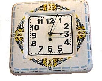 "Vintage French Enamel Art Deco ""Wall Clock"""