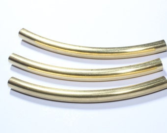6 Pcs (5,5x70mm) Raw Brass Curved Tubes, Necklace tubes , Raw Brass Findings TBR6