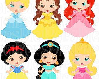 LITTLE PRINCESSES Colored Digital Clip Art Set -Personal and Commercial- Cinderella, Belle, Ariel, Snow White, Sleeping Beauty, Jasmine