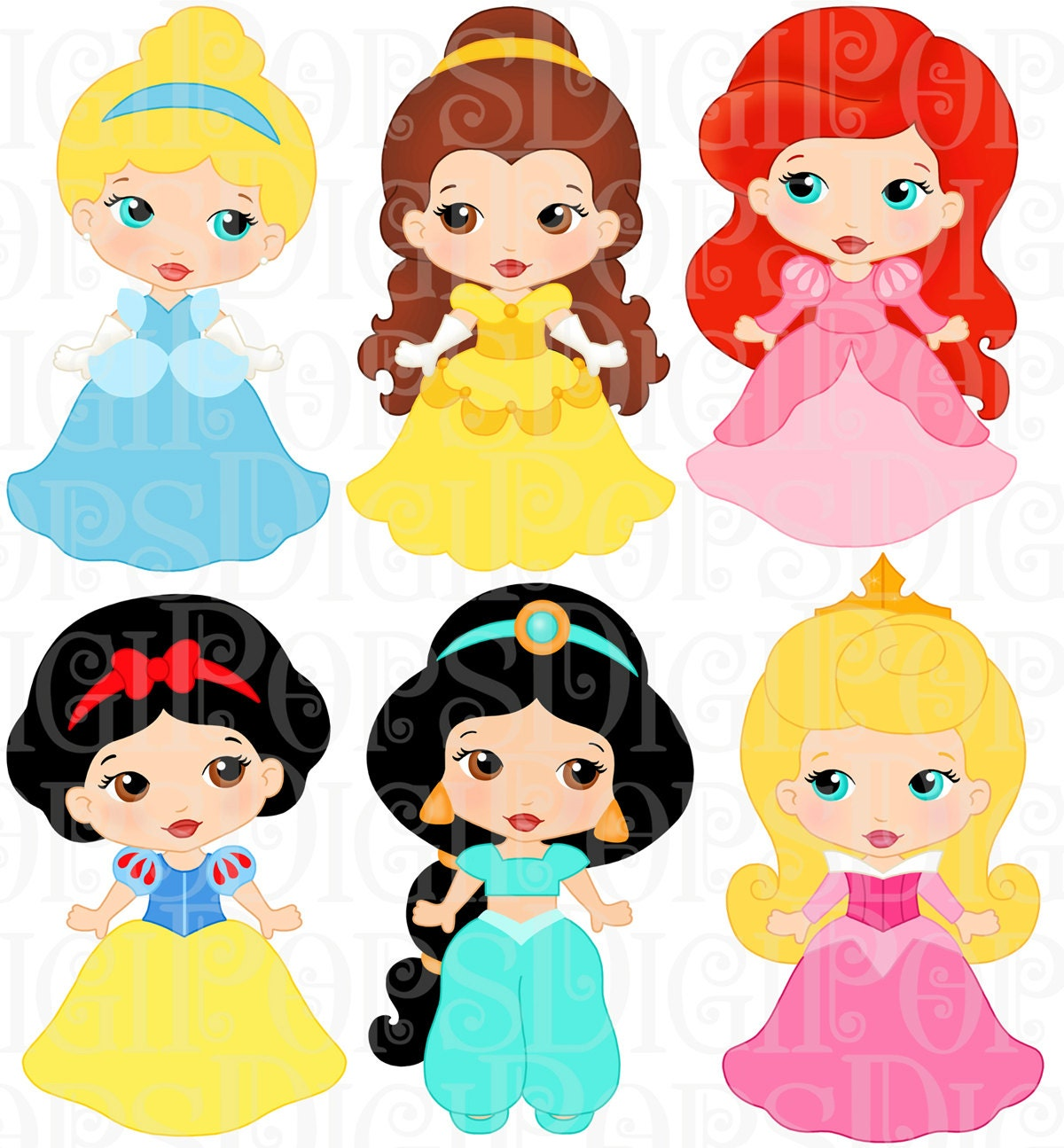 LITTLE PRINCESSES Colored Digital Clip Art Set Personal and