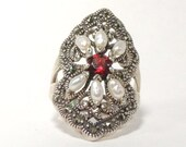 Sterling Silver Freshwater Pearl Garnet marcasite Vintage Ring Size 7