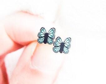 Little Butterfly Studs, Kids Earrings, Cute Tiny Black Butterflies Earrings, Childrens Earrings, Cute Girly Studs