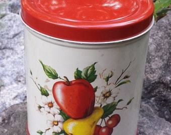 Vintage Metal Tin - Apples, Pears & Cherries - 1950's