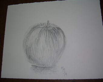graphite drawing of an apple