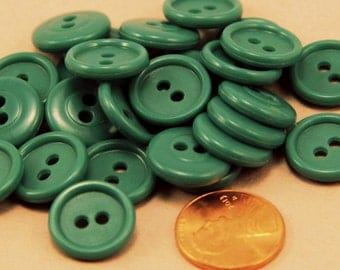 "24 Muted Teal Sew-though Plastic Buttons Almost 5/8"" 15MM # 6367"