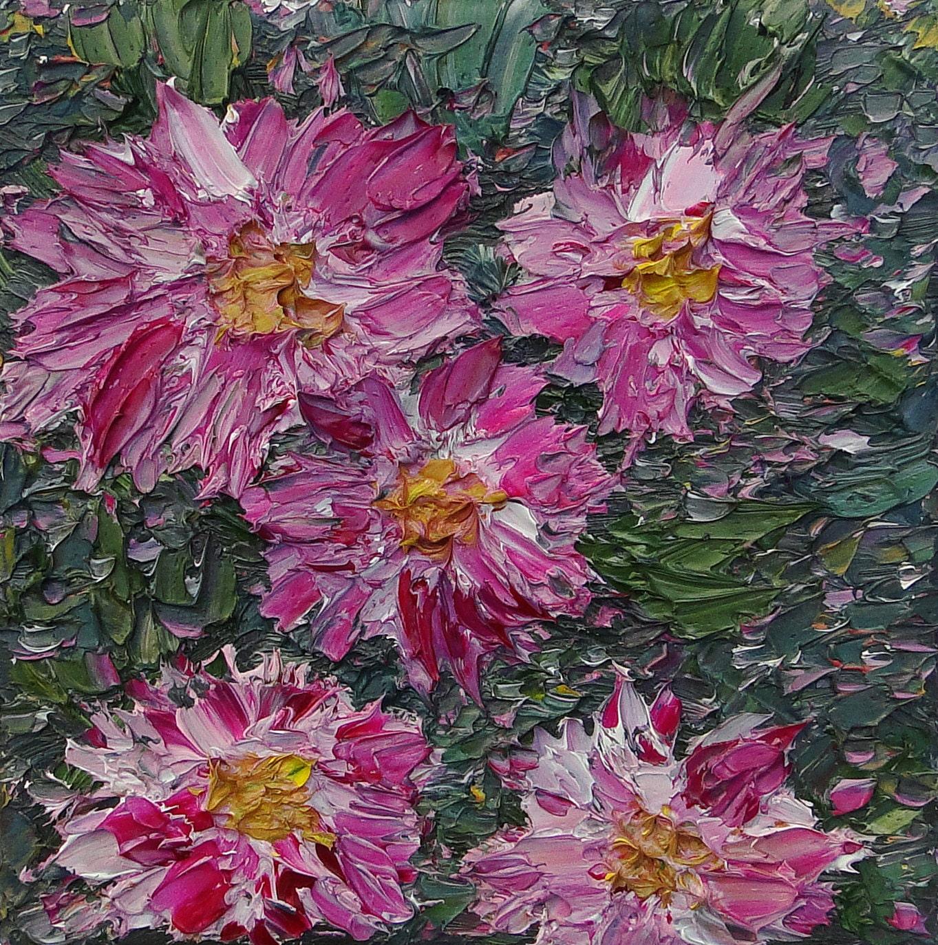 Magenta Home Decoration: Magenta Flowers Wall Art Impressionistic Home Decor