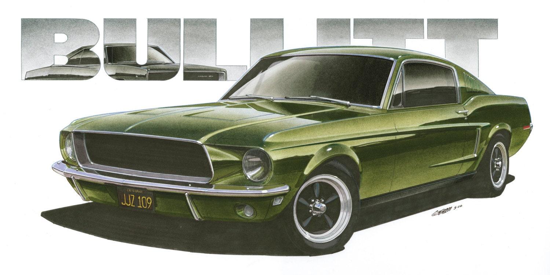 1968 Ford Mustang Steve Mcqueen Bullitt 12x24 Inch Art Print