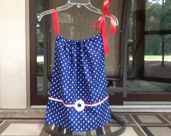 Handmade Patriotic Pillowcase dress 100% Cotton, 3T, Polka Dot, Red, White, Blue