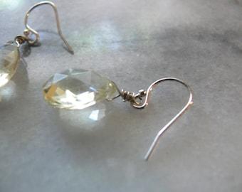 faceted green quartz earrings