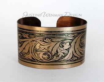 Copper Cuff Etched w/ Scroll Motif, Organic Swirls, Ancient Decoration, Woman's Bracelet