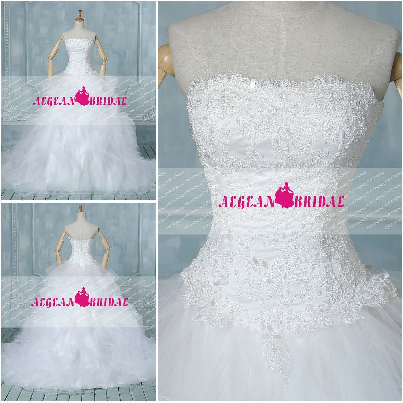 RW71 Lace Wedding Dress with Beading Sequined Ball Gown Ruffled Bridal Dress 2014 Long Court Train Strapless White Wedding Gown